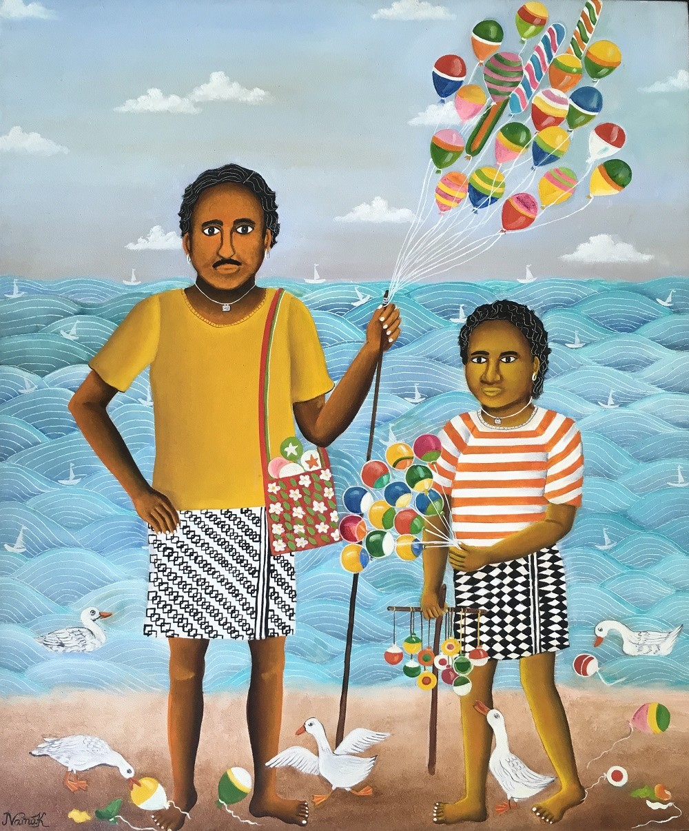 Balloon Seller by Nayanaa Kanodia, Expressionism Painting, Oil on Canvas, Cyan color
