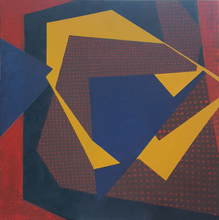 Untitled III by Nivedita Pande, Geometrical Painting, Oil on Canvas, Brown color