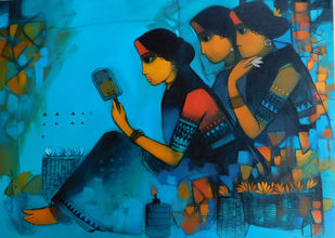 reflection by Sachin Sagare, Expressionism Painting, Acrylic on Canvas, Brown color