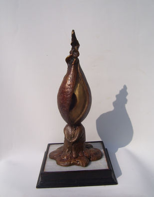 Silent Cry by Jayanta Bhattacharya, Art Deco Sculpture   3D, Bronze, Gray color