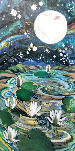 lily blooming by Elan Cheziyan, Impressionism Painting, Acrylic on Canvas, Green color