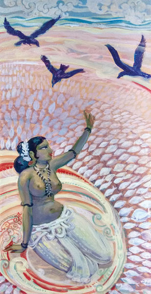 Lady with dry fish by Elan Cheziyan, Expressionism Painting, Acrylic on Canvas, Pink color