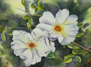 White it is by Poulami Basu, Impressionism Painting, Watercolor on Paper, Green color