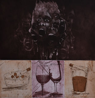 Frustration,Addiction,Etc. by Chandan baruah, Expressionism Printmaking, Intaglio on Paper, Brown color