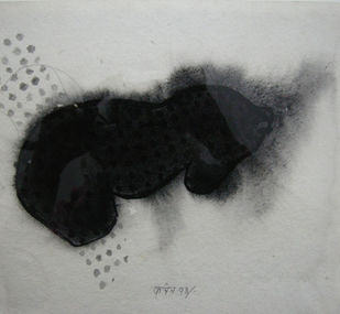 Black and White 3 by Kanchan Chander, Illustration Drawing, Acrylic & Ink on Paper, Gray color