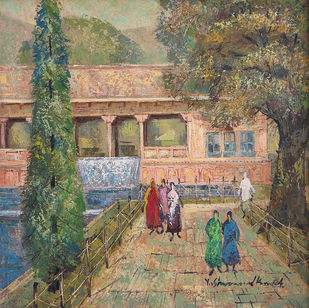 Kashmir by Yashwant Shirwadkar, Impressionism Painting, Oil on Canvas, Brown color