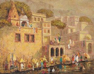 Varanasi by Yashwant Shirwadkar, Impressionism Painting, Oil on Canvas, Brown color
