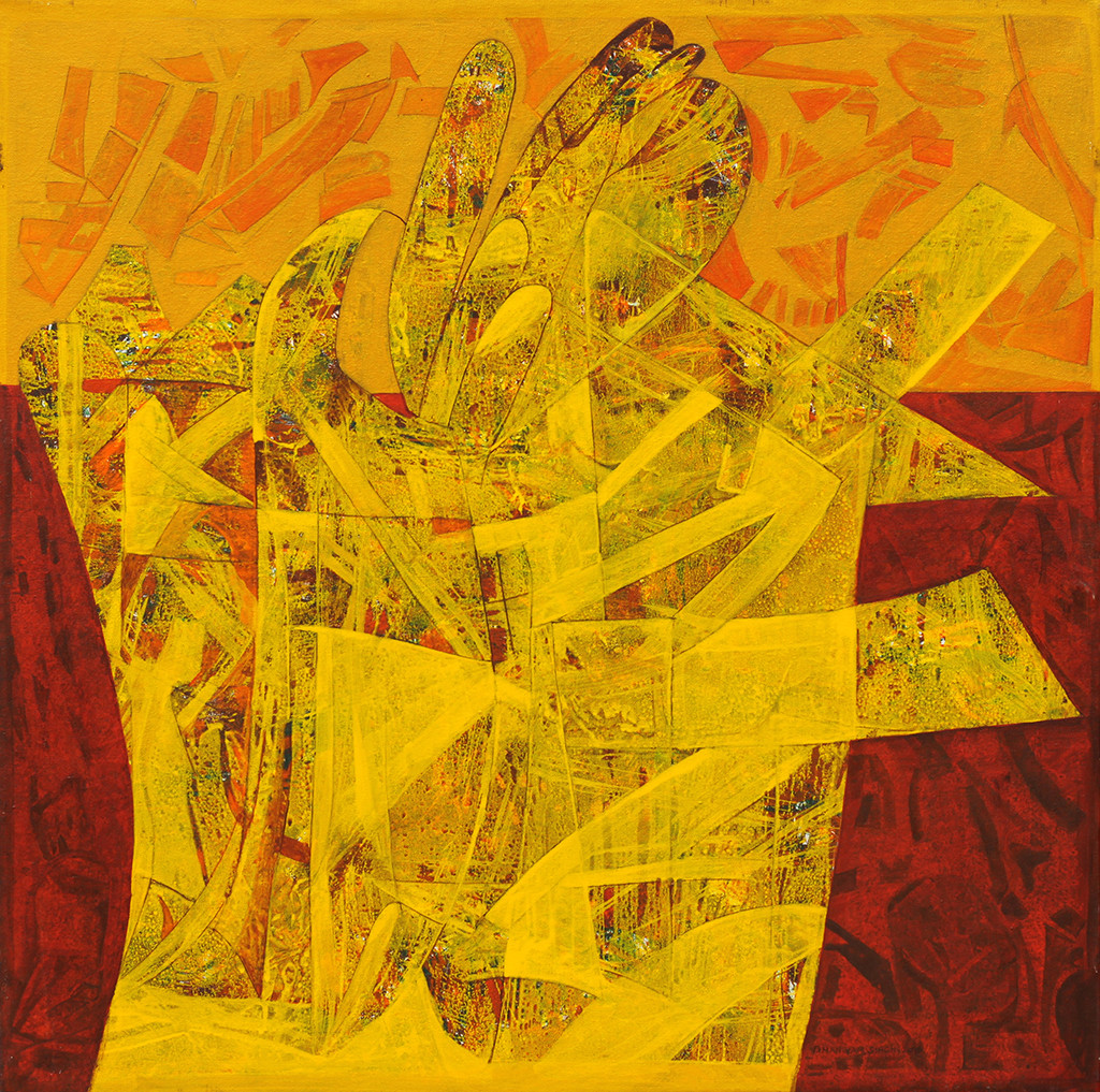 Roop by Bhanwarsingh Panwar, Expressionism Painting, Acrylic on Canvas, Orange color