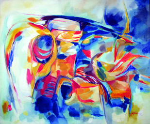 Canvas Seven by Surya Prakash, Abstract Painting, Oil on Canvas, Brown color
