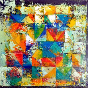 Untitled by Nivas Kanhere, Abstract Painting, Oil on Canvas, Beige color