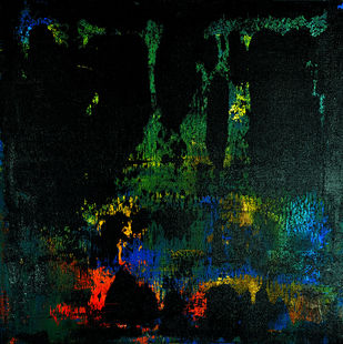Untitled by Nivas Kanhere, Abstract Painting, Acrylic on Canvas, Black color