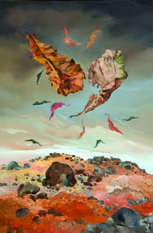 Flight by Surya Prakash, Surrealism Painting, Oil on Canvas, Brown color