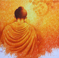 Pious Buddha towards Nirvana by prince chand, Expressionism Painting, Oil on Canvas, Orange color