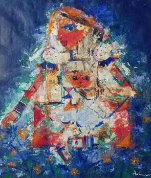 Krishna 5 by Archana Sharma, Impressionism Painting, Acrylic & Ink on Canvas, Blue color