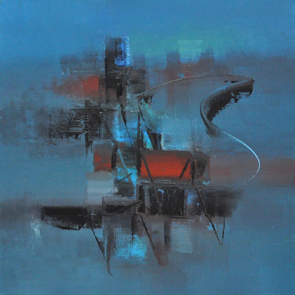 Blue Digital Print by Raju Durshettiwar,Abstract