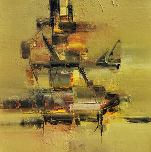 Muddy Green by Raju Durshettiwar, Abstract Painting, Acrylic on Canvas, Beige color