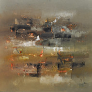 Defining Space by Raju Durshettiwar, Abstract Painting, Acrylic on Canvas, Brown color