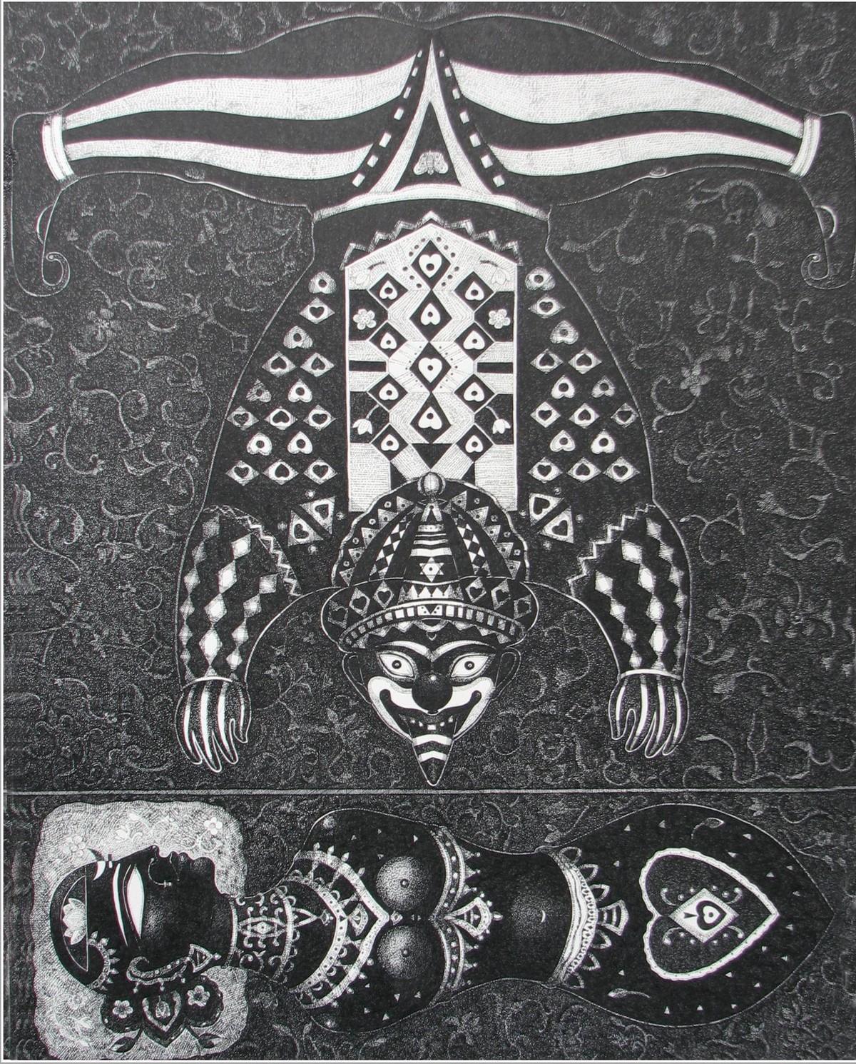 Clown 1 by Bhaskar Lahiri, Illustration Drawing, Pen & Ink on Paper, Gray color