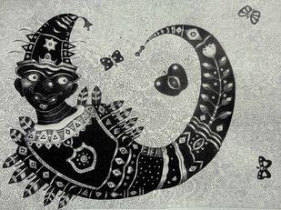 Clown 2 by Bhaskar Lahiri, Illustration Drawing, Pen & Ink on Paper, Gray color