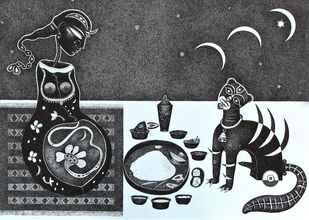 Lady with Cat by Bhaskar Lahiri, Illustration Drawing, Pen & Ink on Paper, Gray color