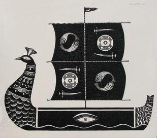 Mayurpankhi by Bhaskar Lahiri, Illustration Drawing, Pen & Ink on Paper, Gray color