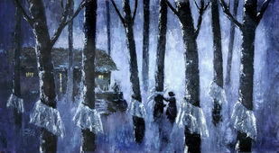 Misty Estate Series 1 by Sunil Linus De, Impressionism Painting, Acrylic on Canvas, Blue color