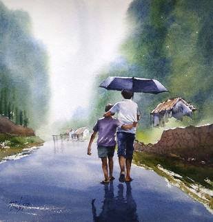 Childhood by Sunil Linus De, Impressionism Painting, Watercolor on Paper, Green color