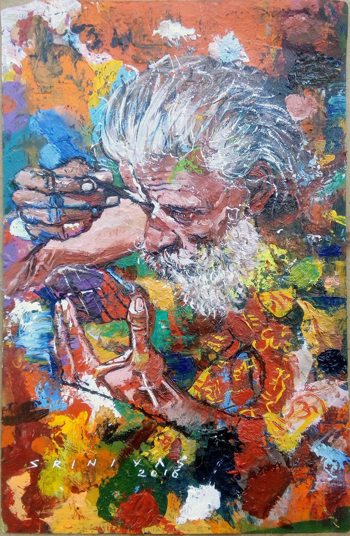 Sadhu by Sreenivasa Ram Makineedi, Expressionism Painting, Oil on Acrylic Sheet, Brown color
