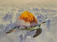 FLYING DREAM by Sunil Kumar, Surrealism Painting, Acrylic on Canvas, Beige color