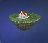 SOLITARY HOME by Sunil Kumar, Surrealism Painting, Acrylic on Canvas, Blue color