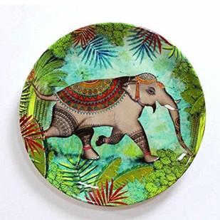 "SRI LANKAN TROPICAL RAINFOREST WILDLIFE ELEPHANT INSPIRED HOME DÉCOR WALL PLATE 8"" Wall Decor By Kolorobia"