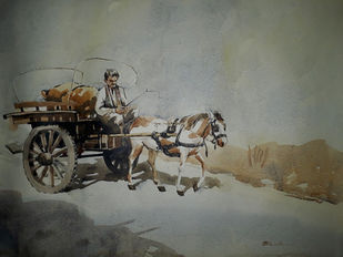 On the way by A Kundu, Impressionism Painting, Watercolor on Paper, Gray color