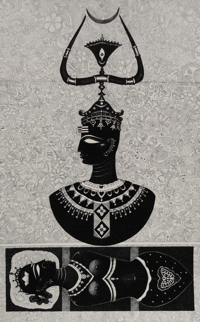 king and queen by Bhaskar Lahiri, Traditional Drawing, Pen & Ink on Paper, Gray color