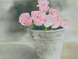 Roses Digital Print by Poulami Basu,Impressionism