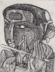 Untitled by Thota Vaikuntam, Expressionism Drawing, Charcoal on Canvas, Gray color