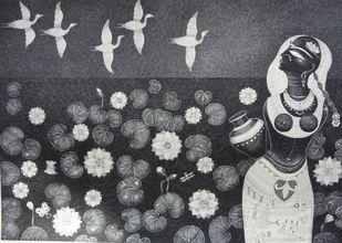 Lotuspond 1 by Bhaskar Lahiri, Illustration Drawing, Pen & Ink on Paper, Gray color