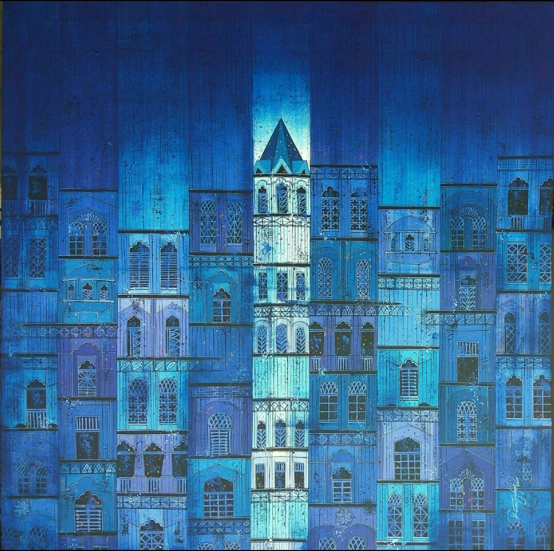 Blue by Suresh Gulage, Geometrical Painting, Acrylic on Canvas, Blue color