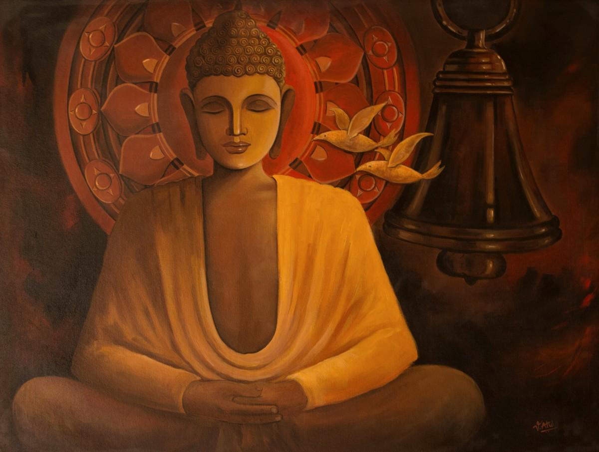 Buddha-5 Digital Print by Atul Virkar,Expressionism