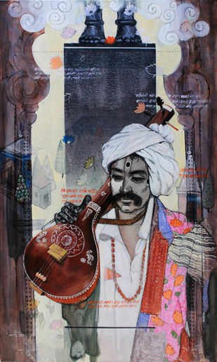 samvad(conversation)3/3 by Ramchandra Kharatmal, Expressionism Painting, Acrylic & Graphite on Canvas, Brown color