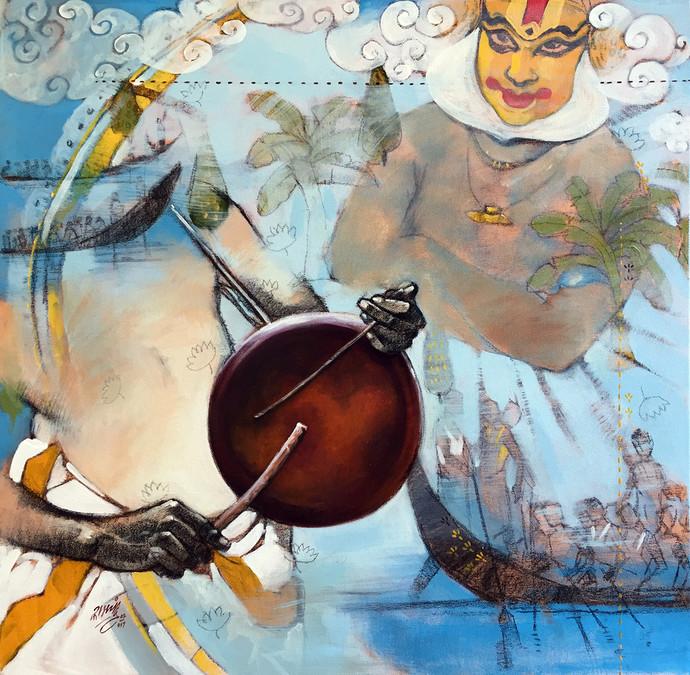 samvad(conversation)3/6 by Ramchandra Kharatmal, Impressionism Painting, Acrylic & Graphite on Canvas, Beige color