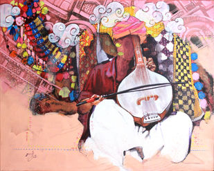 samvad(conversation)3/7 by Ramchandra Kharatmal, Expressionism Painting, Acrylic & Graphite on Canvas, Pink color