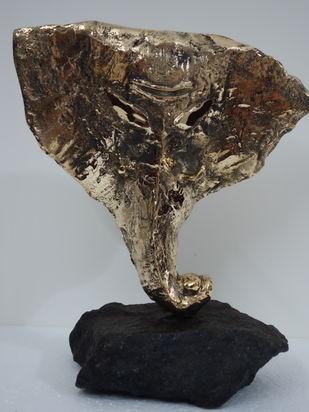 Ganesh by Usha Ramachandran, Art Deco Sculpture | 3D, Bronze, Gray color