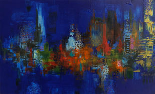 Saanjh by Sheetal Singh, Abstract Painting, Acrylic on Canvas, Blue color