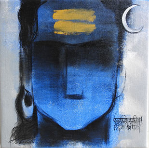 shiva by Ashok Rathod, Traditional Painting, Acrylic on Canvas, Blue color