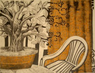 Nature as a decoration by Subhamita Sarker, Expressionism Printmaking, Lithography on Paper, Brown color
