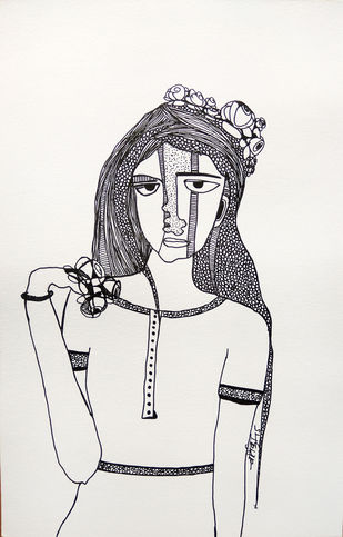 All roses are mine - 8 by Vartika Singh, Expressionism Drawing, Pen & Ink on Paper, Gray color