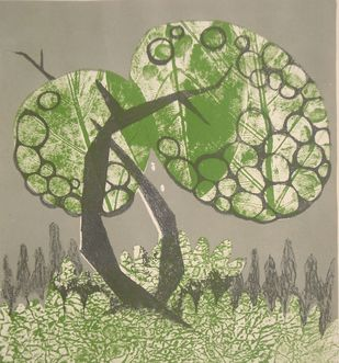 Rhythm of nature by Subhamita Sarker, Impressionism Printmaking, Lithography on Paper, Beige color