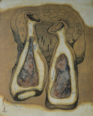 Twins by Abhijit Das, Expressionism Painting, Mixed Media on Board, Brown color