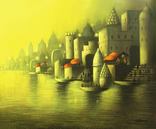 Golden Banaras by Somnath Bothe, Impressionism Painting, Acrylic on Canvas, Green color