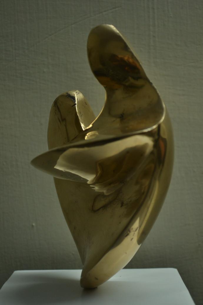 Mother & Child by Gurmeet Goldie, Art Deco Sculpture   3D, Bronze, Green color